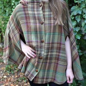 Lauren Ralph Lauren Plaid Wool Poncho